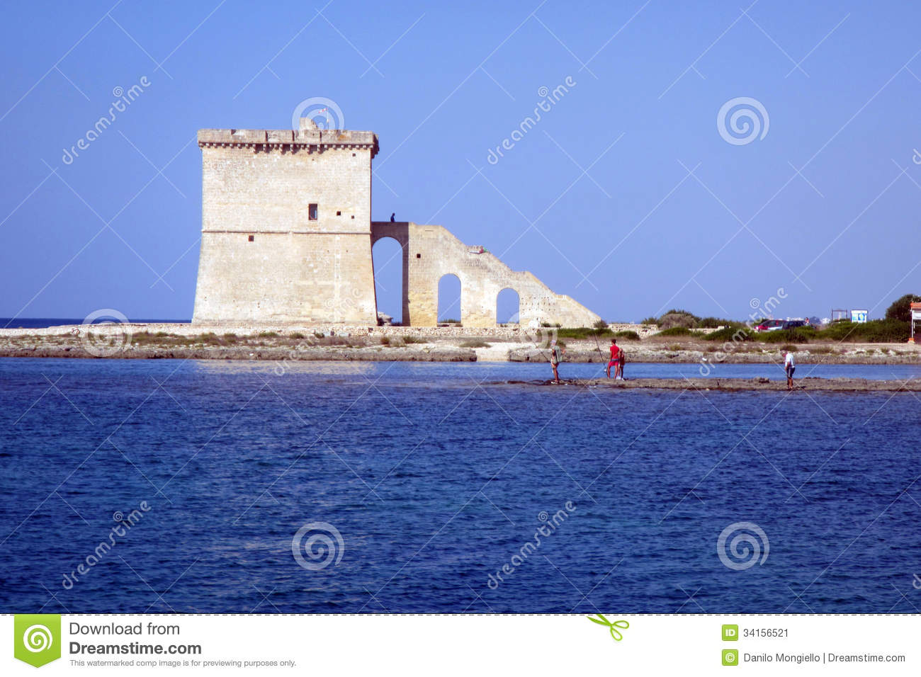 Torre Lapillo Italy  City new picture : The old historic saracen tower on the sea torre lapillo in italy.
