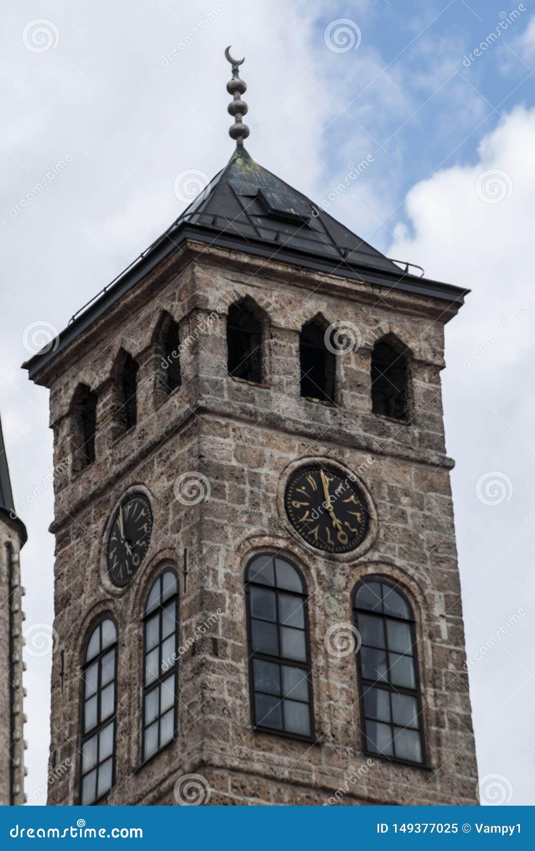Sarajevo, Bośnia i Herzegovina, Bascarsija, Zegarowy wierza, Sarajevska Sahat Kula, linia horyzontu, widok z lotu ptaka, zegar, w