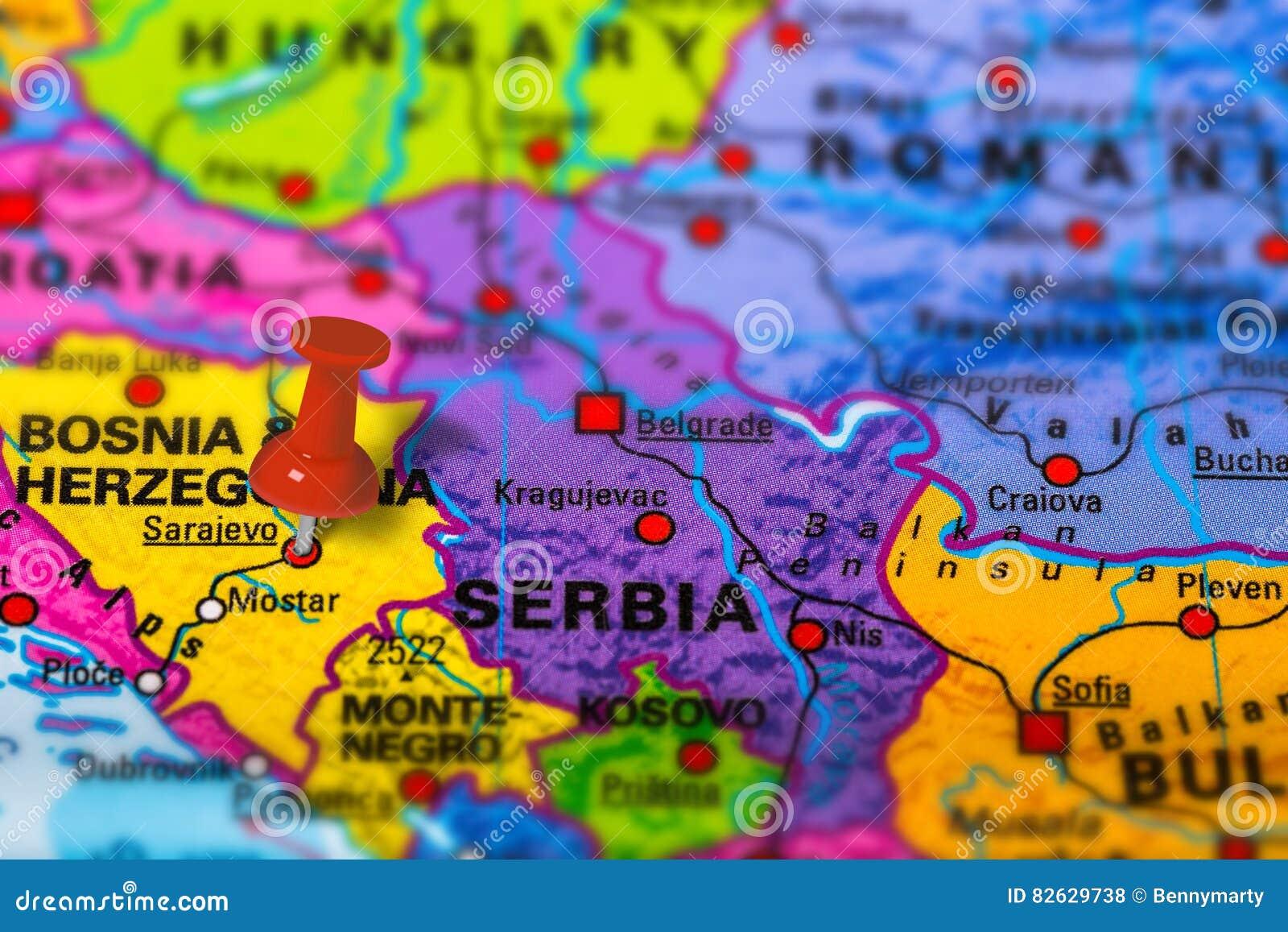Sarajevo Bosnia Map Stock Photo Image Of Marker Bosnia 82629738