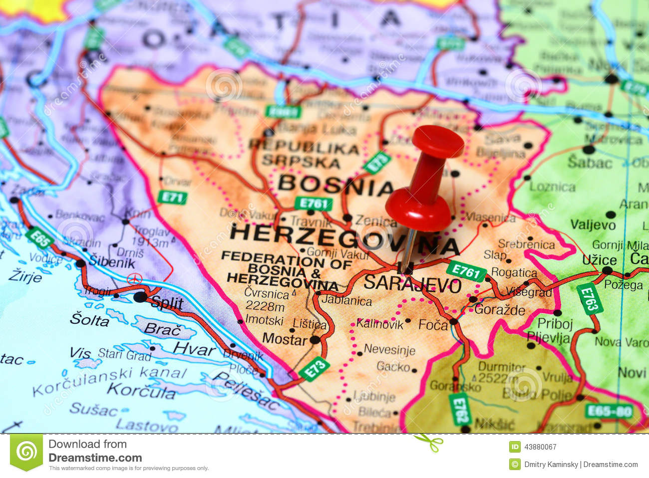 Sarajevo Pinned On A Map Of Europe Stock Image Image Of