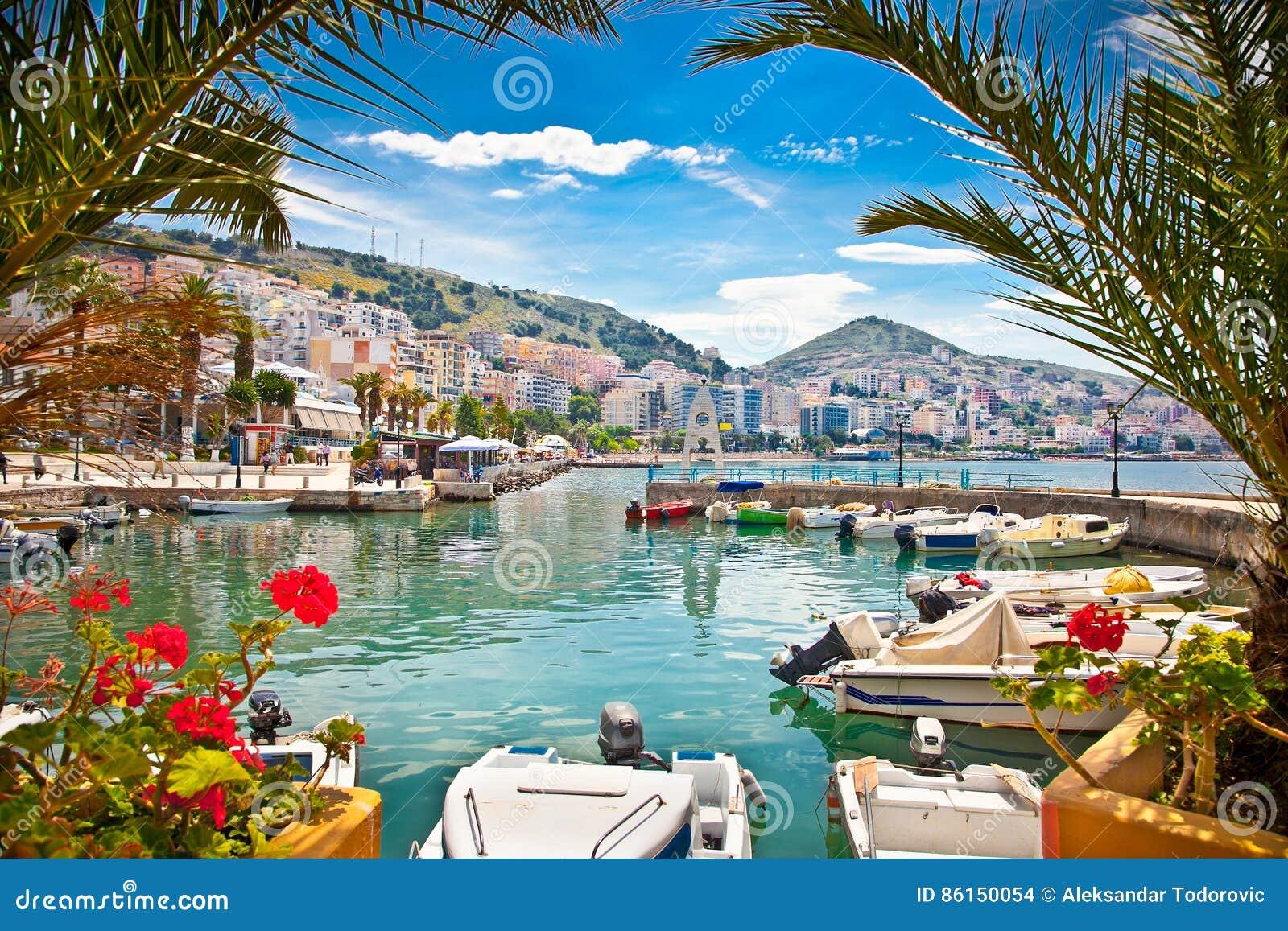 Saranda`s port at ionian sea. Albania.