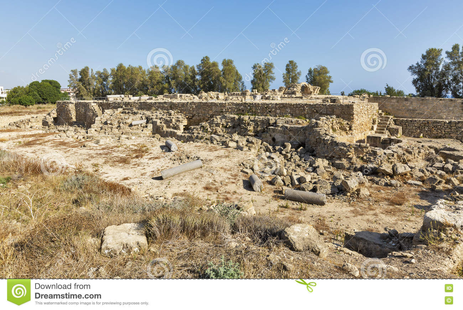Saranta Colones城堡废墟在帕福斯,塞浦路斯