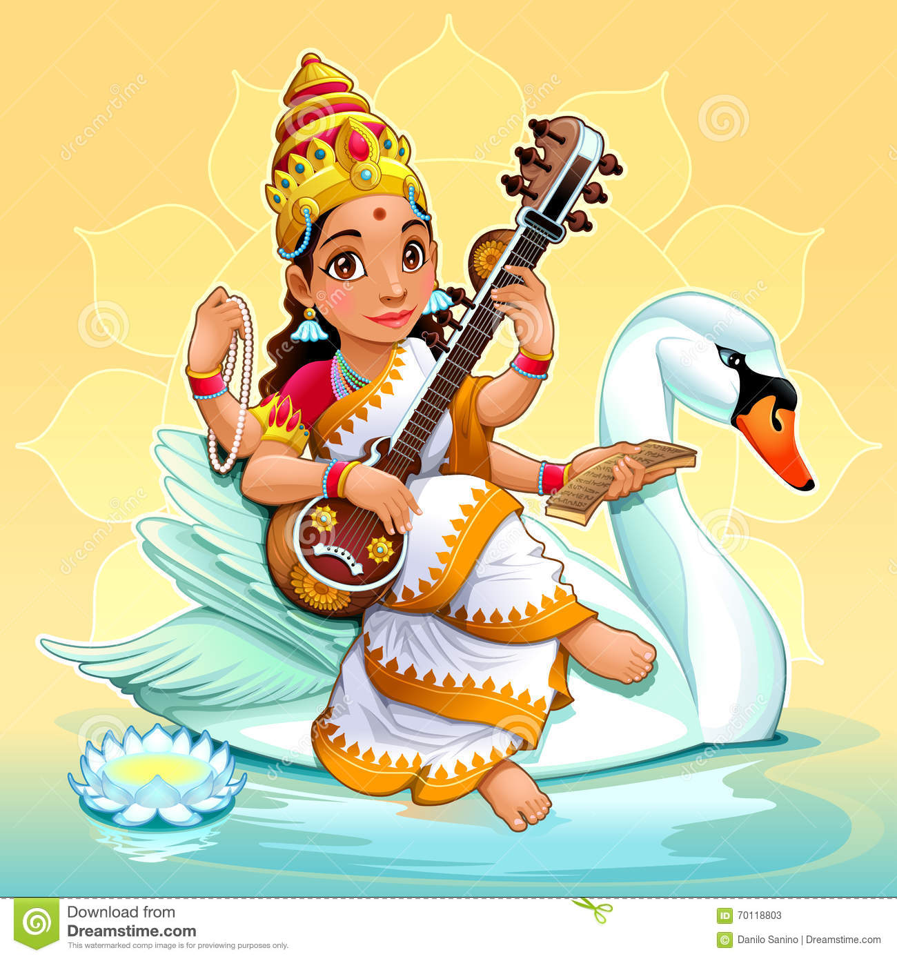 Sarasvati, Hindu Goddess Of Knowledge, Arts And Learning. Stock ...