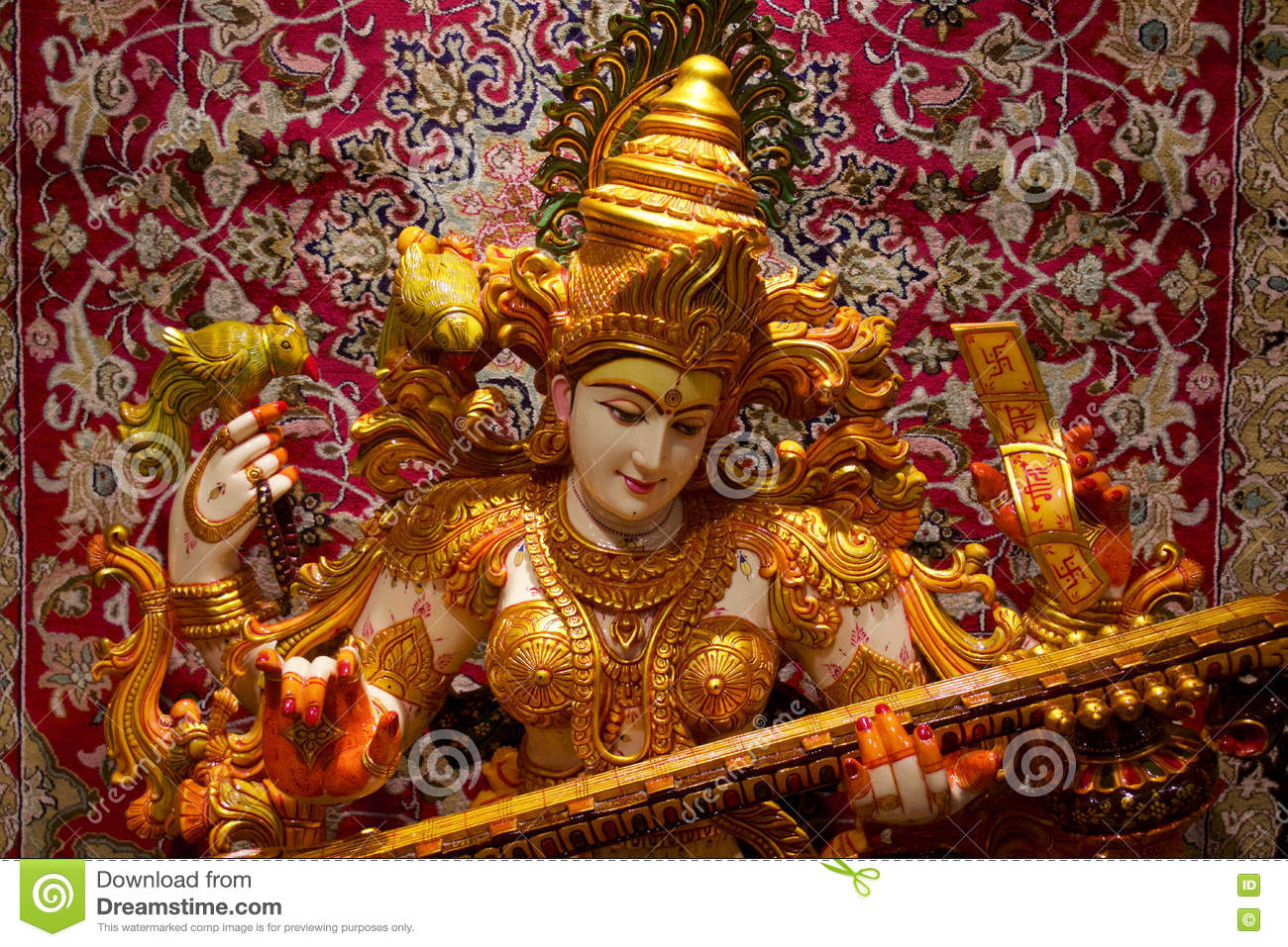 Saraswati Hindu God Playing Sittar / Vina Stock Photo - Image ...