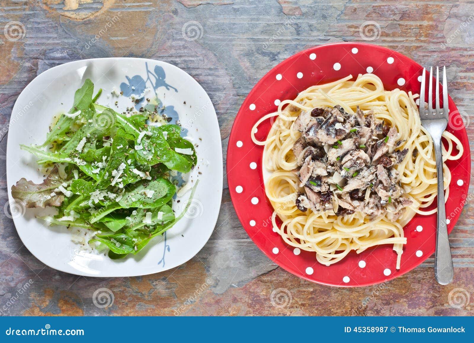 Sardines et spaghetti