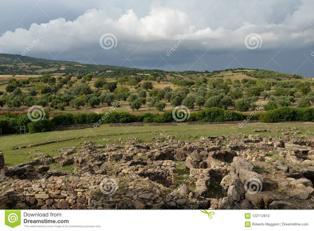 Sardinia, Italy. Rural landscape by dramatic weather
