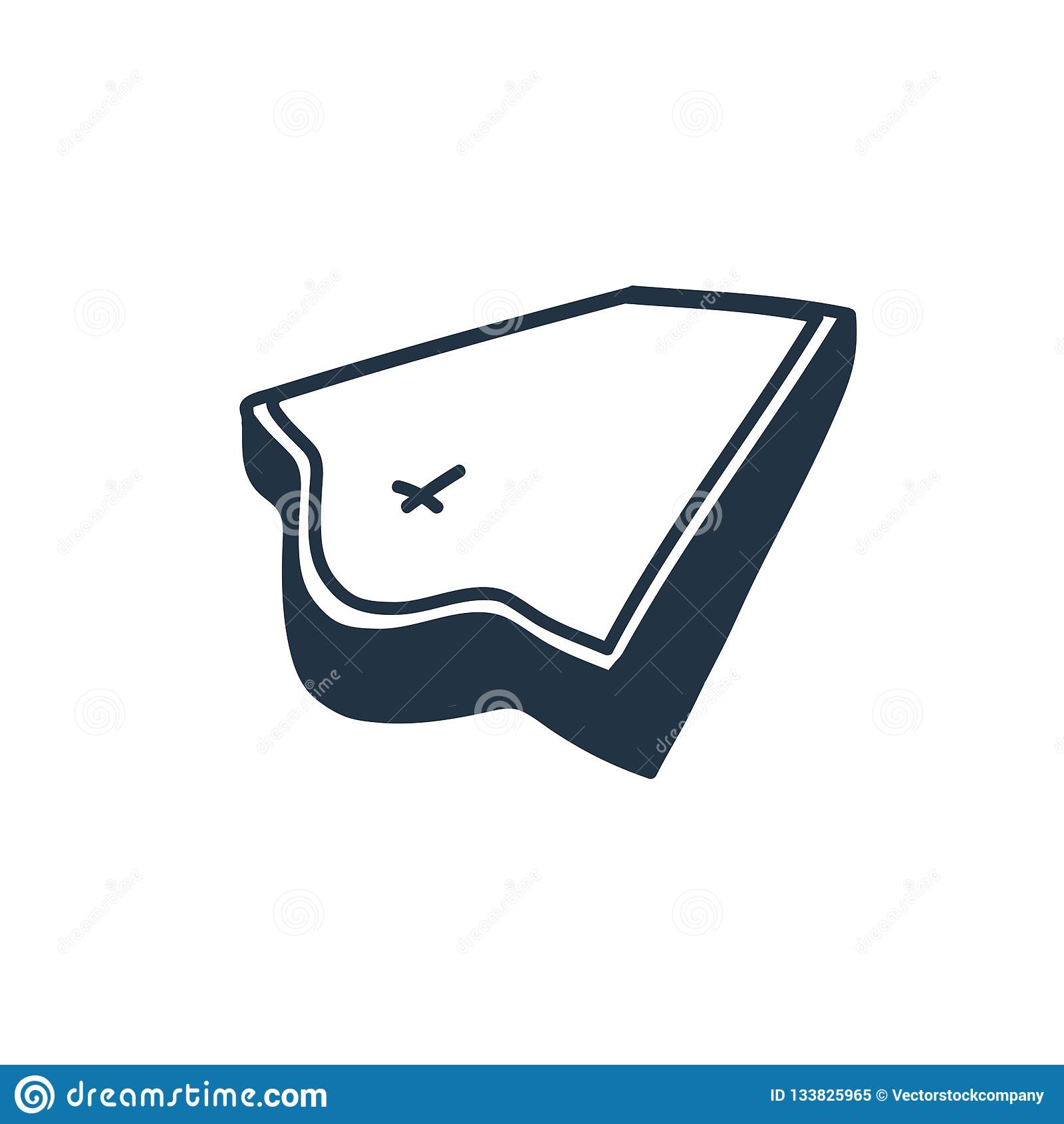 Sargikonenvektor lokalisiert auf weißem Hintergrund, Sargzeichen