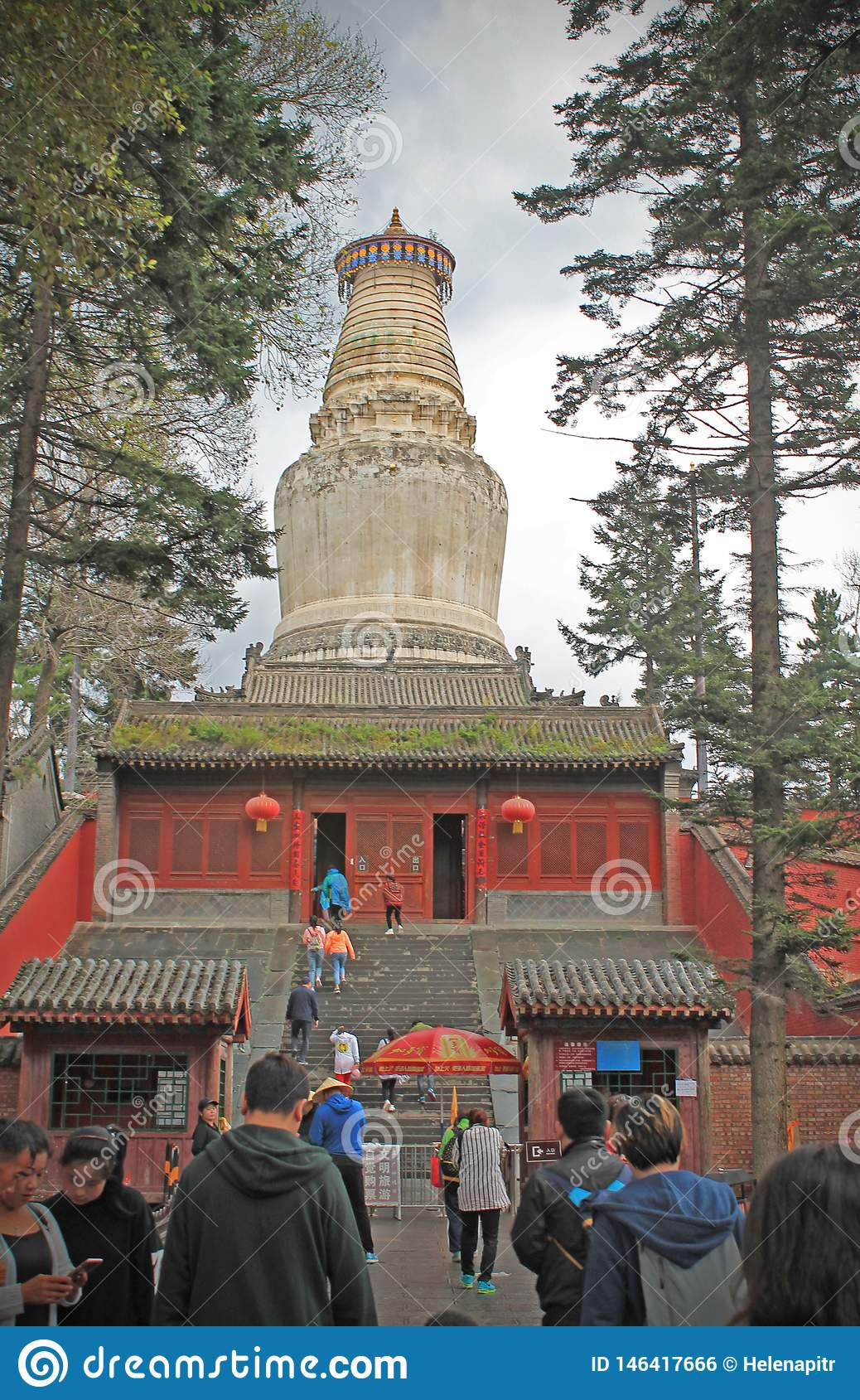 Sarira塔院寺Stupa在五台山脉,山西,中国