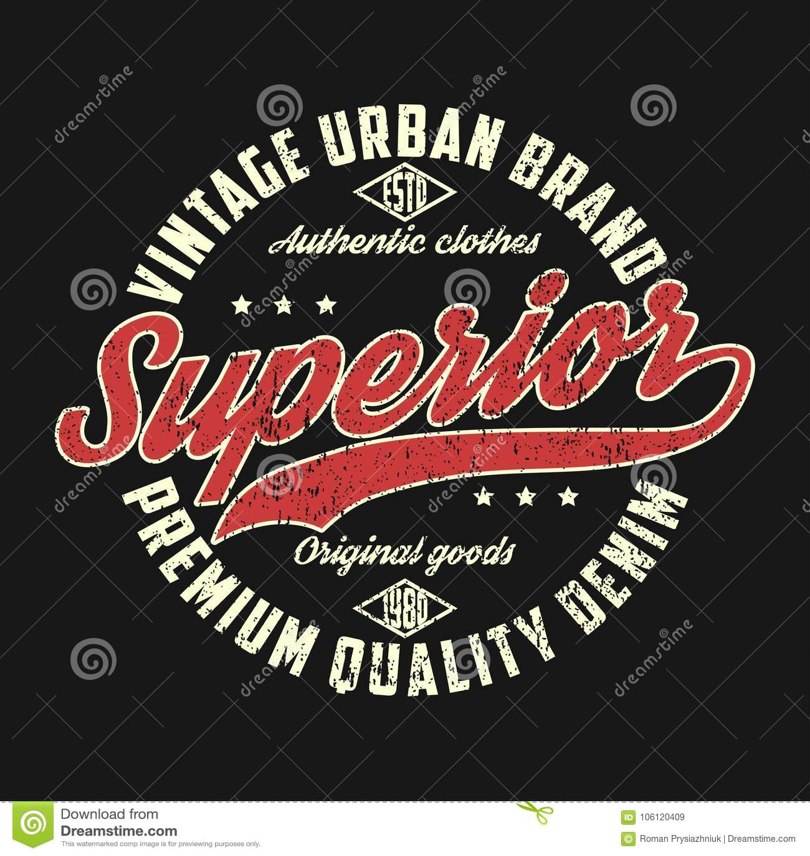 Sarja de Nimes superior, gráfico urbano do tipo do vintage para o t-shirt