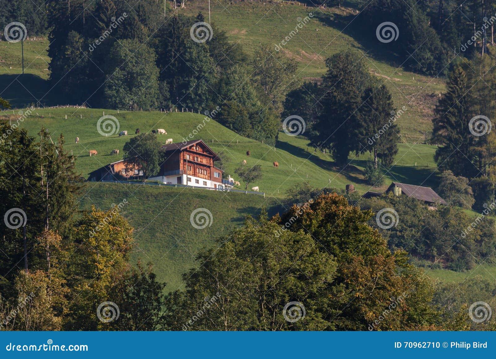 SARNEN, SWITZERLAND/EUROPA - 21 DE SETEMBRO: Opinião um suíço chal
