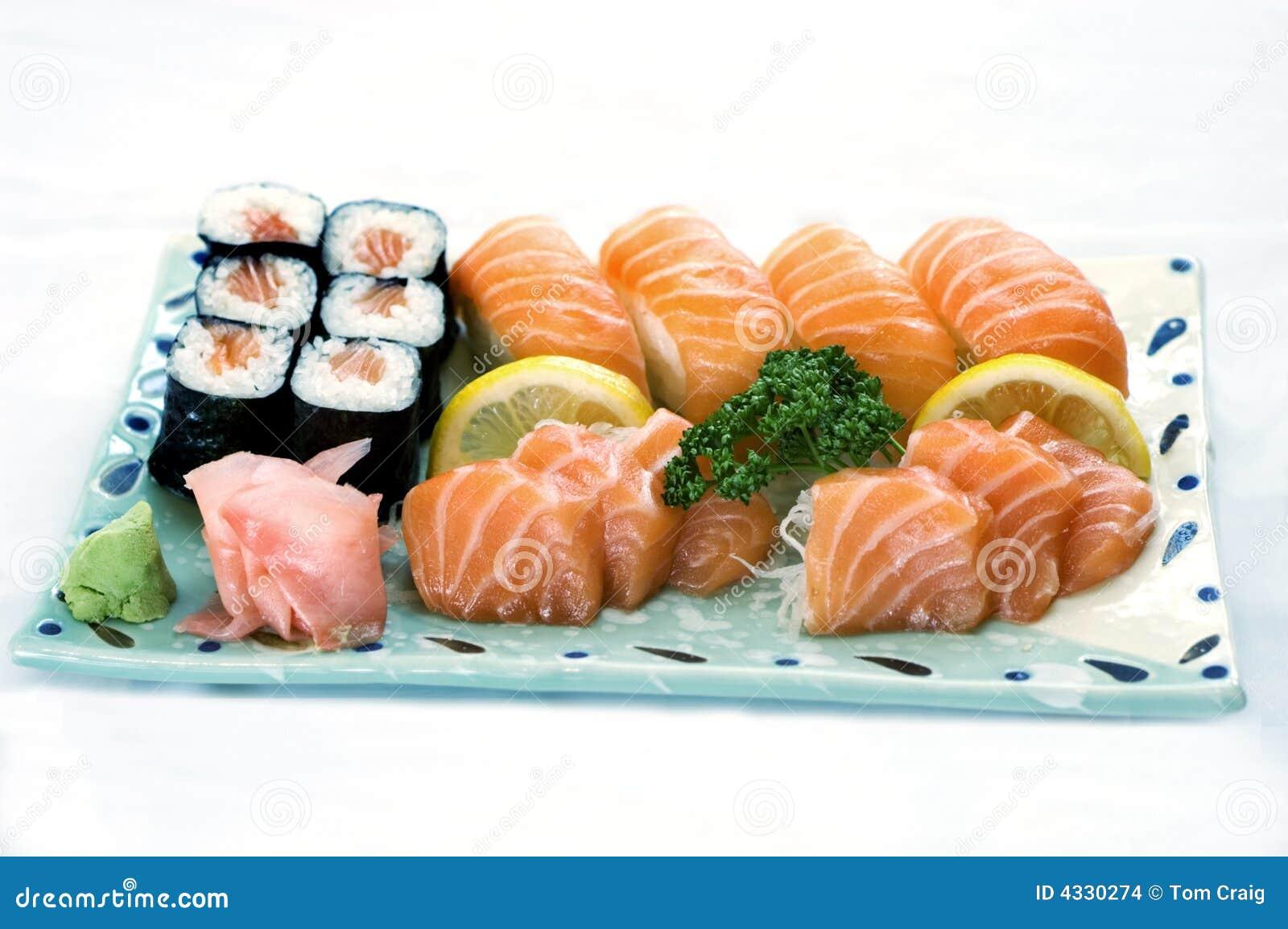 Sashimi för platta för japansk meny för mat blandad