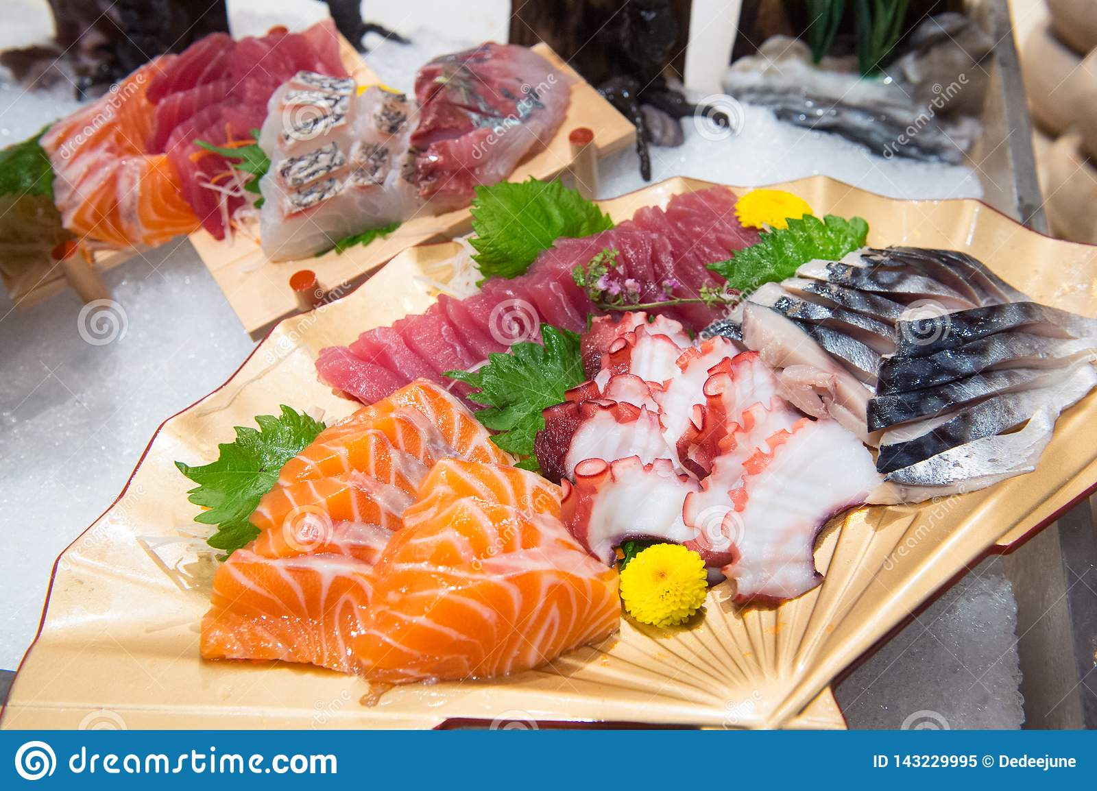 Sashimi on a plate in a Japanese restaurant