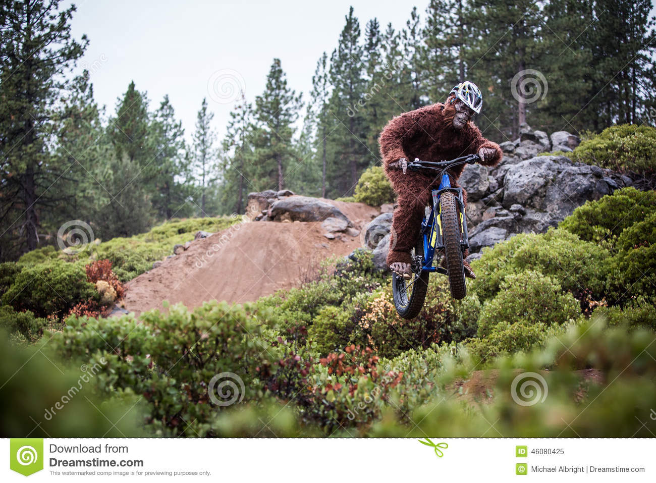 Sasquatch (Yeti) Jumps A Bicycle In The Air