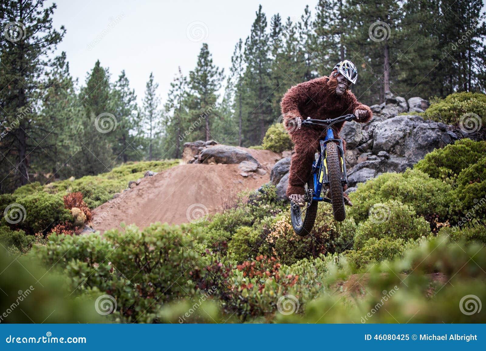 Sasquatch (yeti) salta una bicicleta en el aire