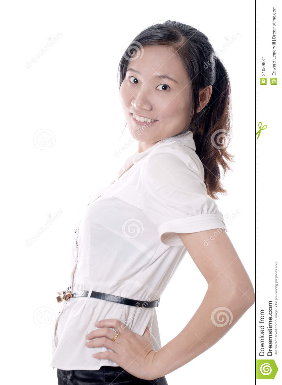 young sassy asian business woman with white blouse isolated Sassy White Woman