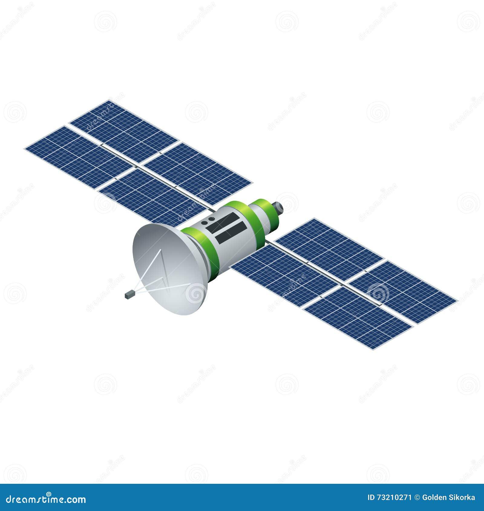 Satélite de GPS Satélite que está en órbita aislado en blanco Ejemplo isométrico del vector plano 3d