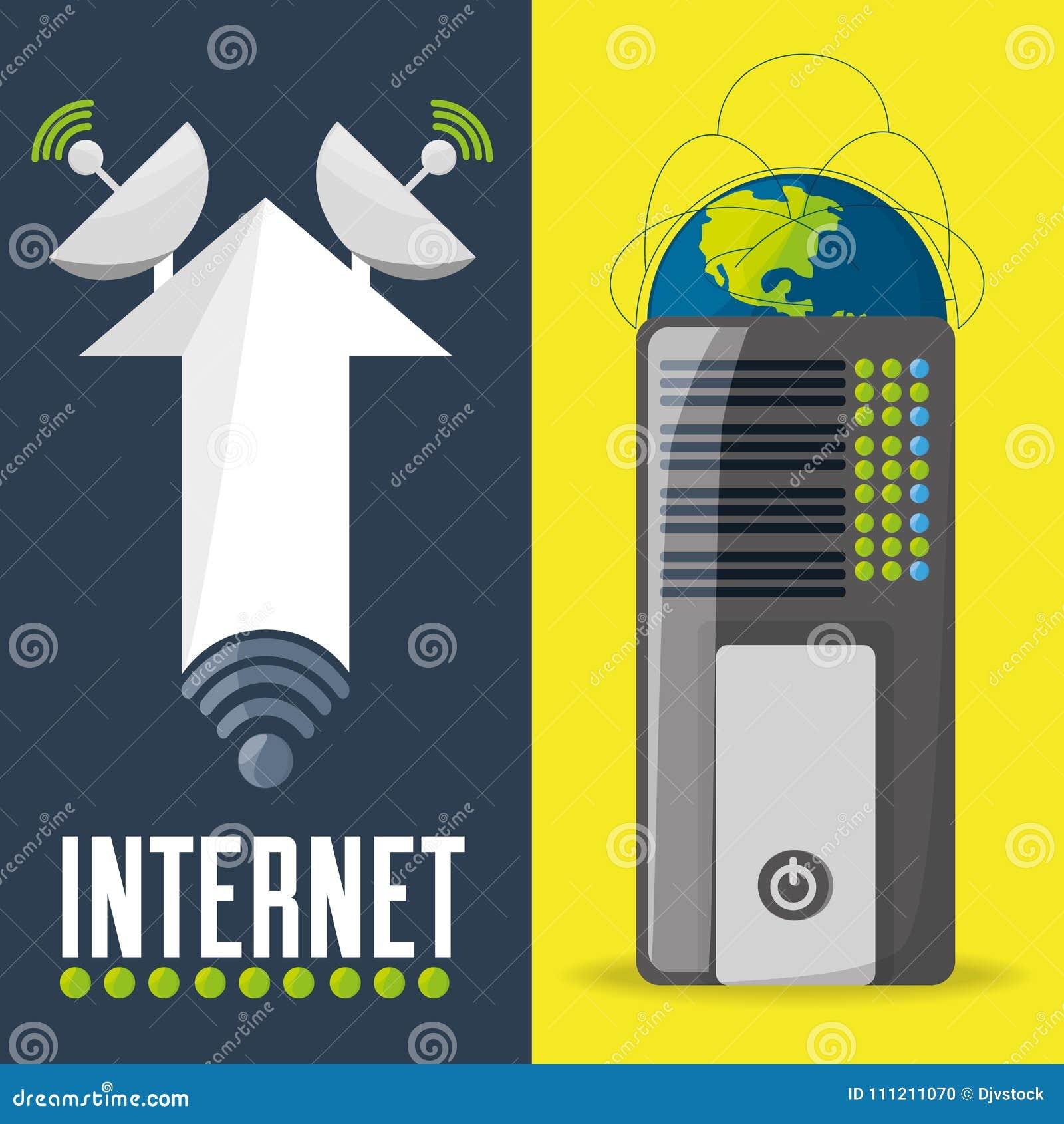 Satélite e roteador relativos com conectividade do Internet