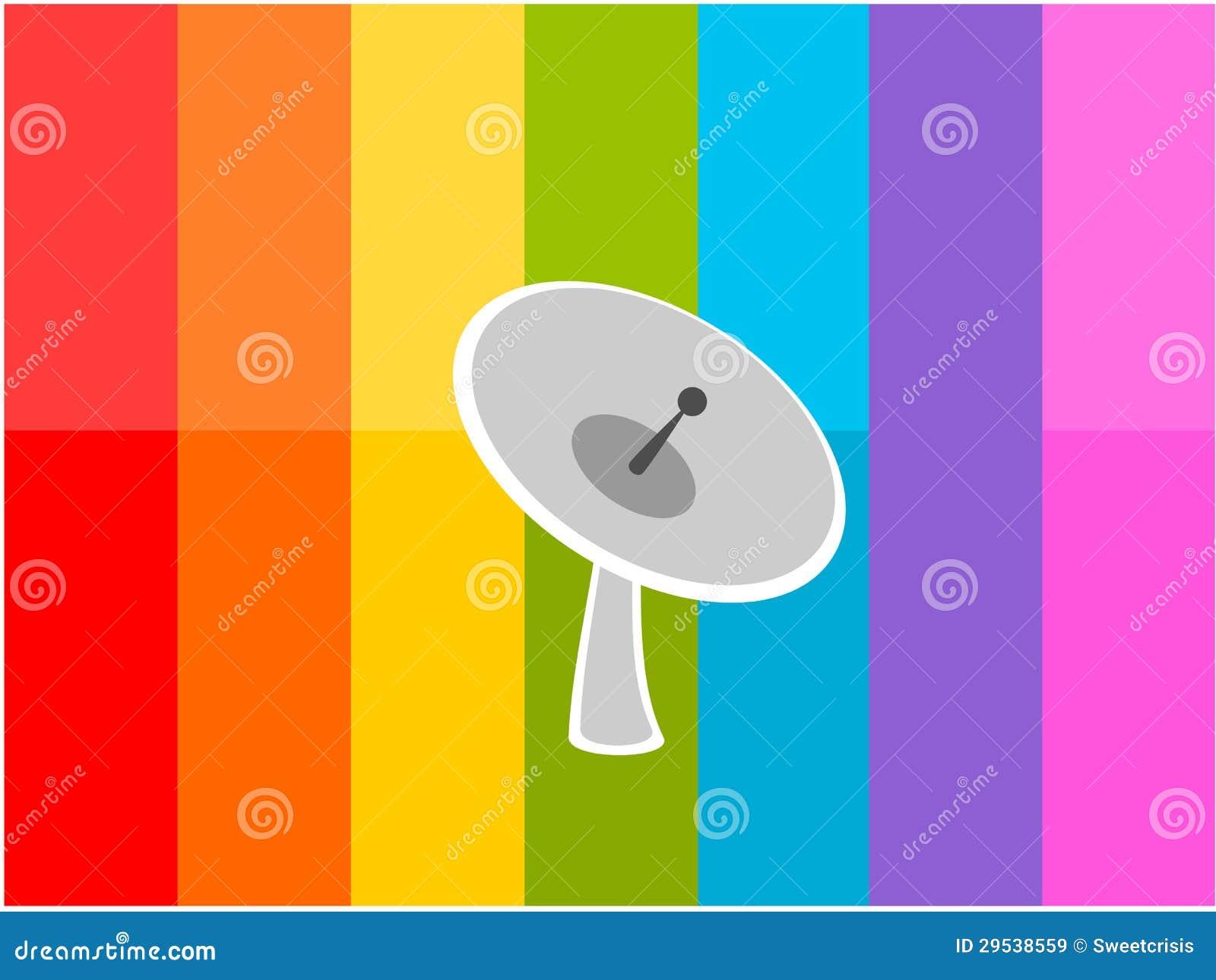 Satélite na ilustração colorida do fundo