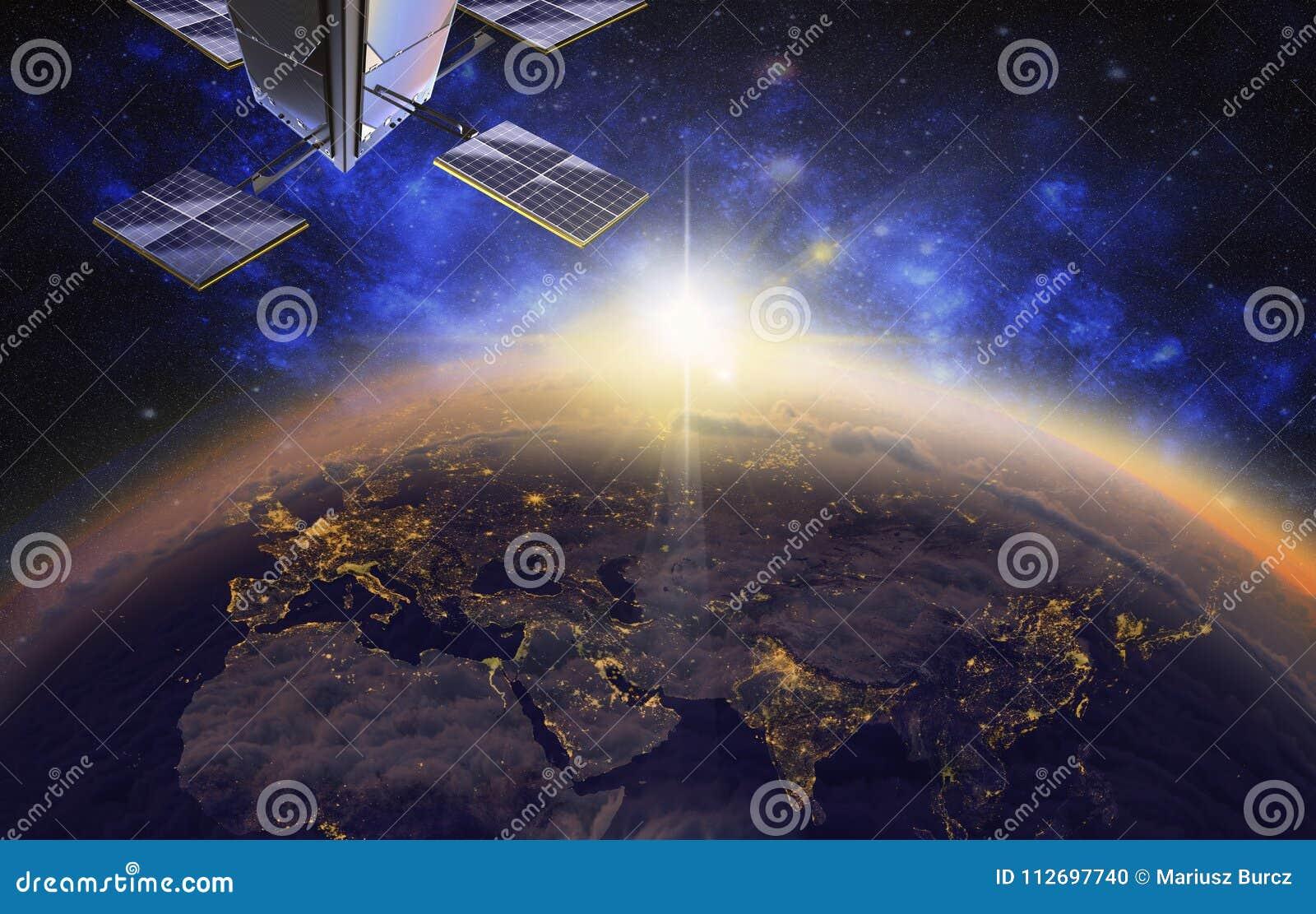 Satélite sobre Europa e Ásia, 3d visualização, nascer do sol