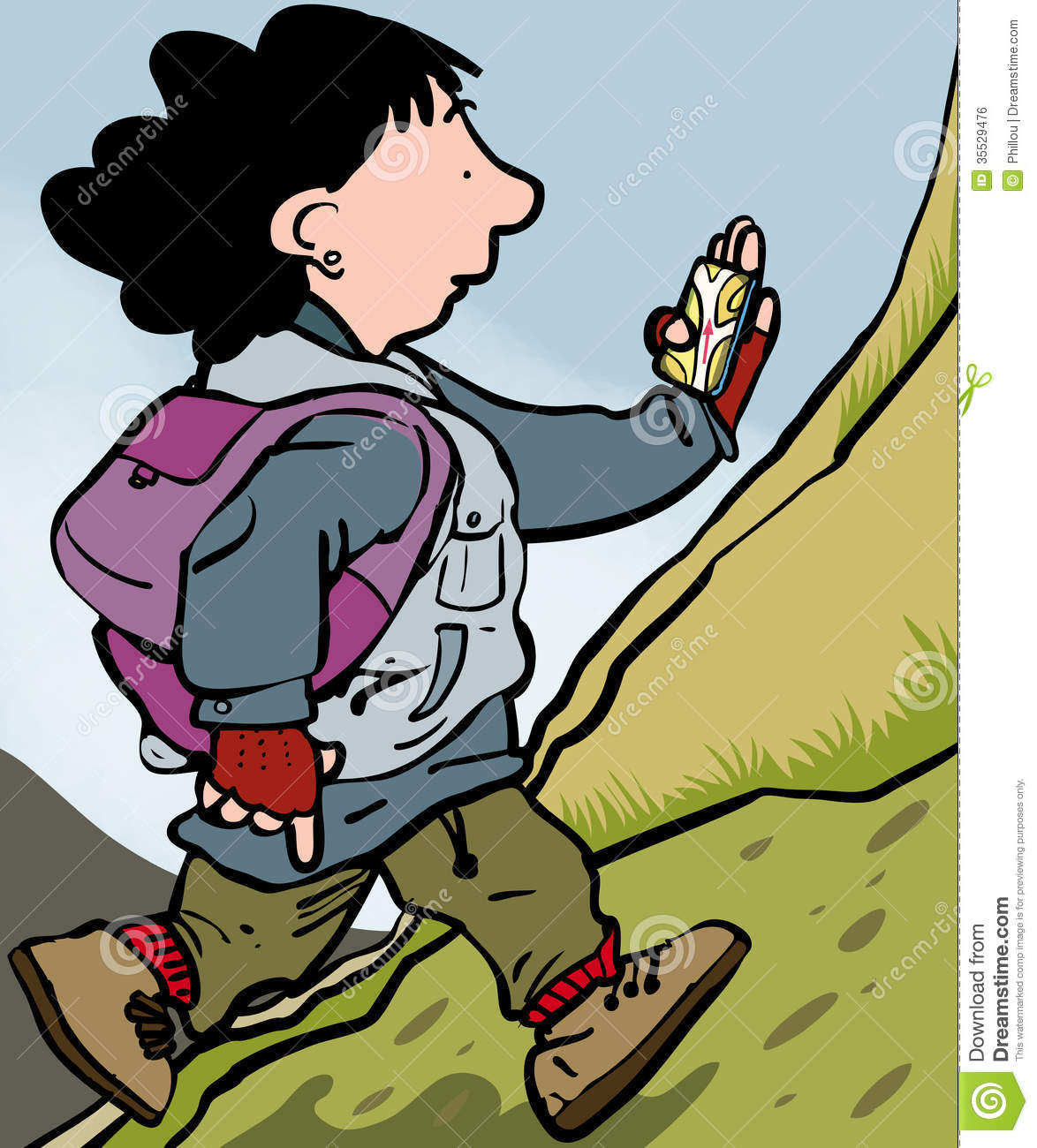 Woman Hillwalking Guided by
