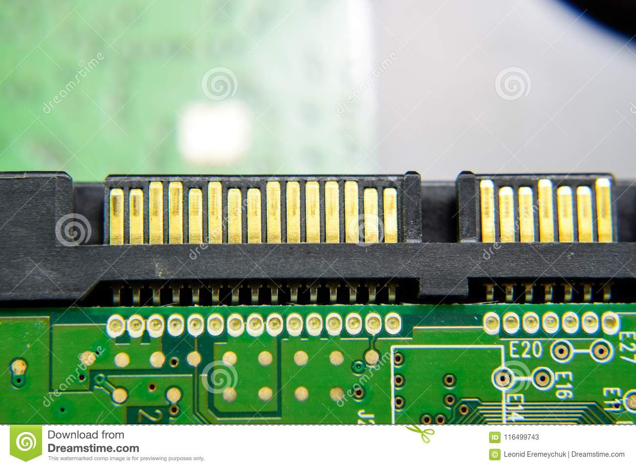 Sata hard drive connector Electronic board with electrical components. Electronics of computer equipment