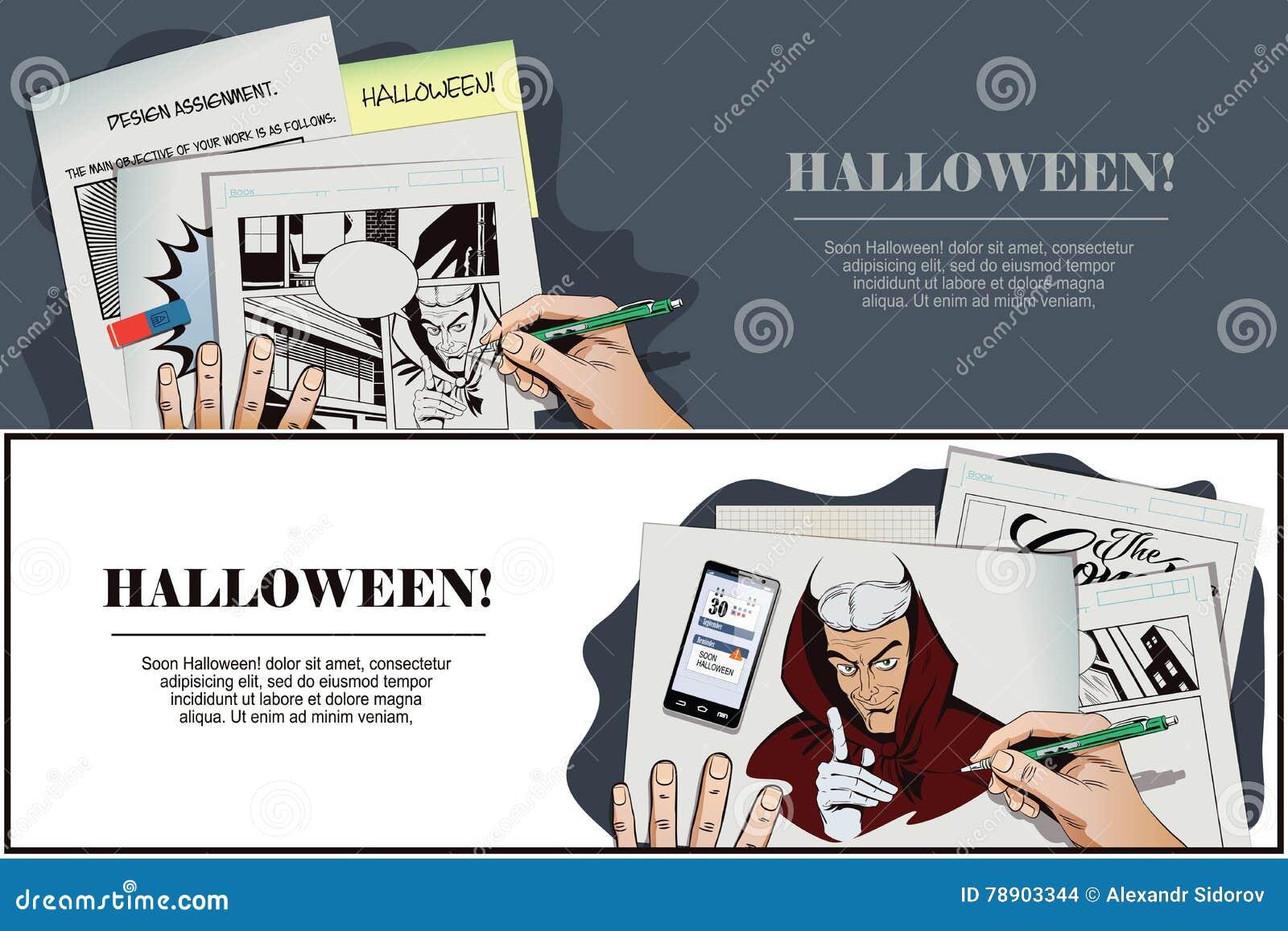 Halloween Creative Ads.Satan Reminds About Halloween Stock Vector Illustration