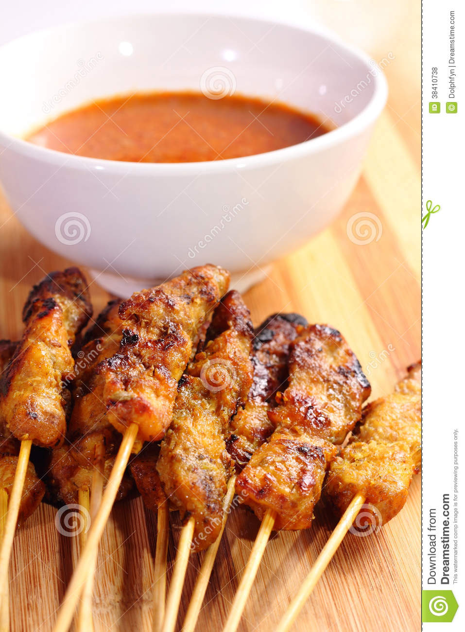 Malaysian chicken satay with delicious peanut sauce, one of famous ...