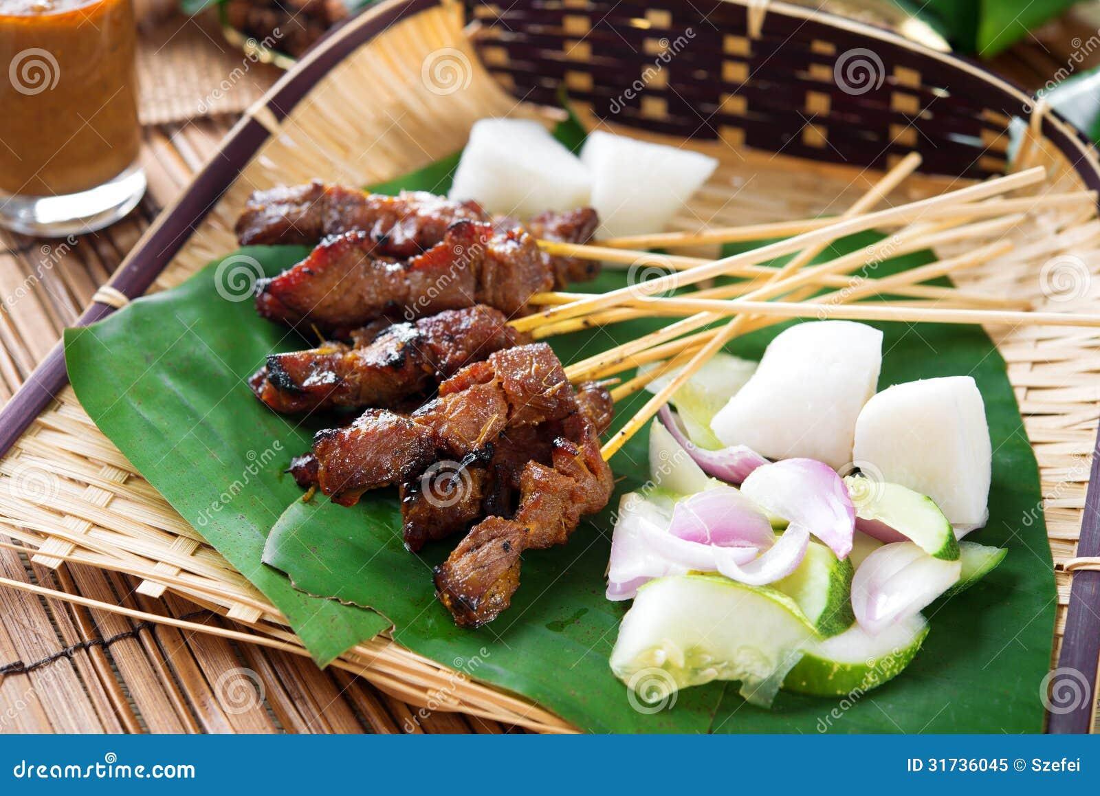Satay grillade kött