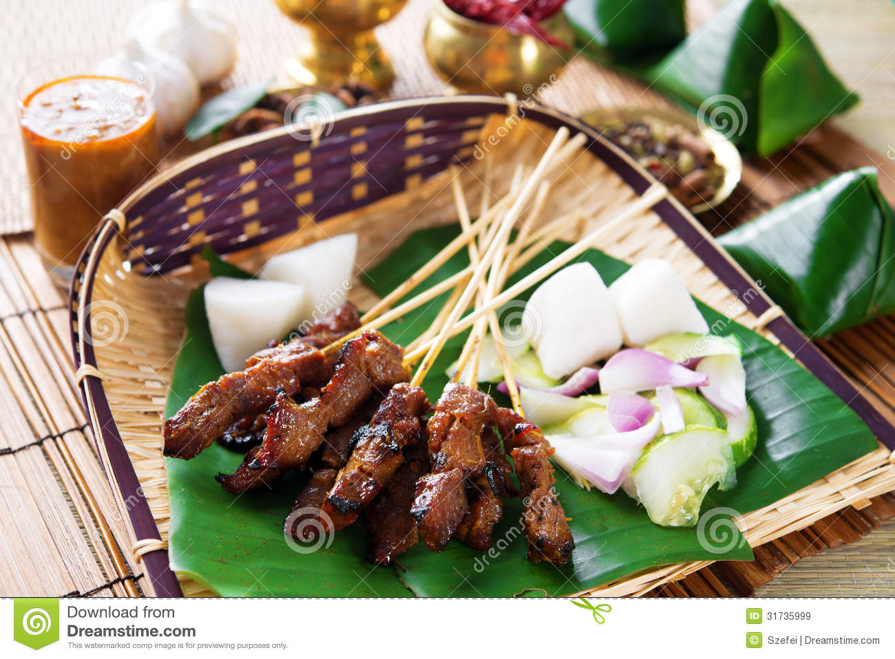 Satay indonesia food stock image image of delicious for Authentic indonesian cuisine
