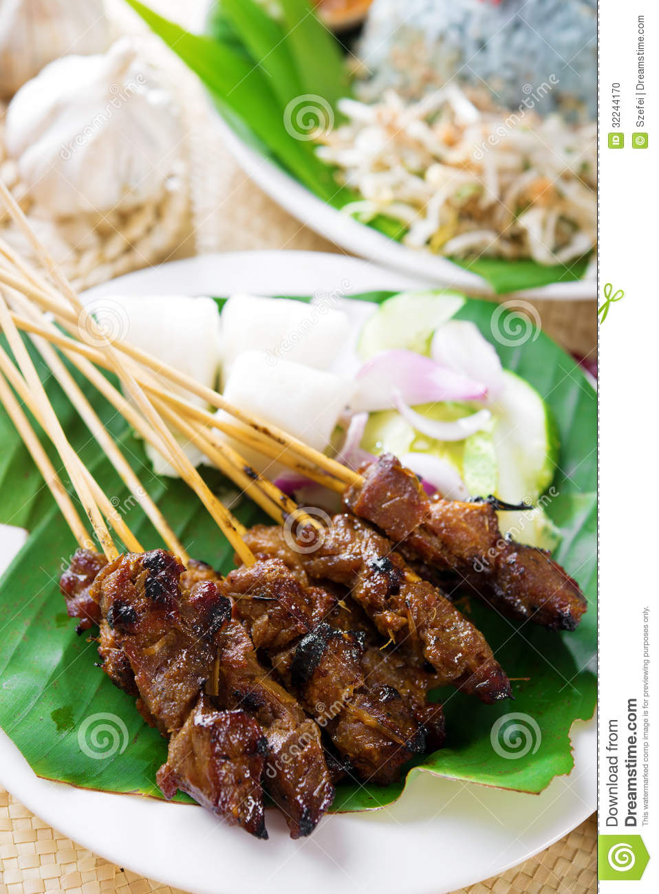 Satay or sate stock photo image 32244170 for Authentic malaysian cuisine