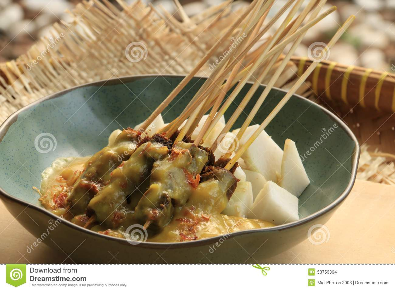 Indonesian spicy beef satay from city of Padang in West Sumatra ...