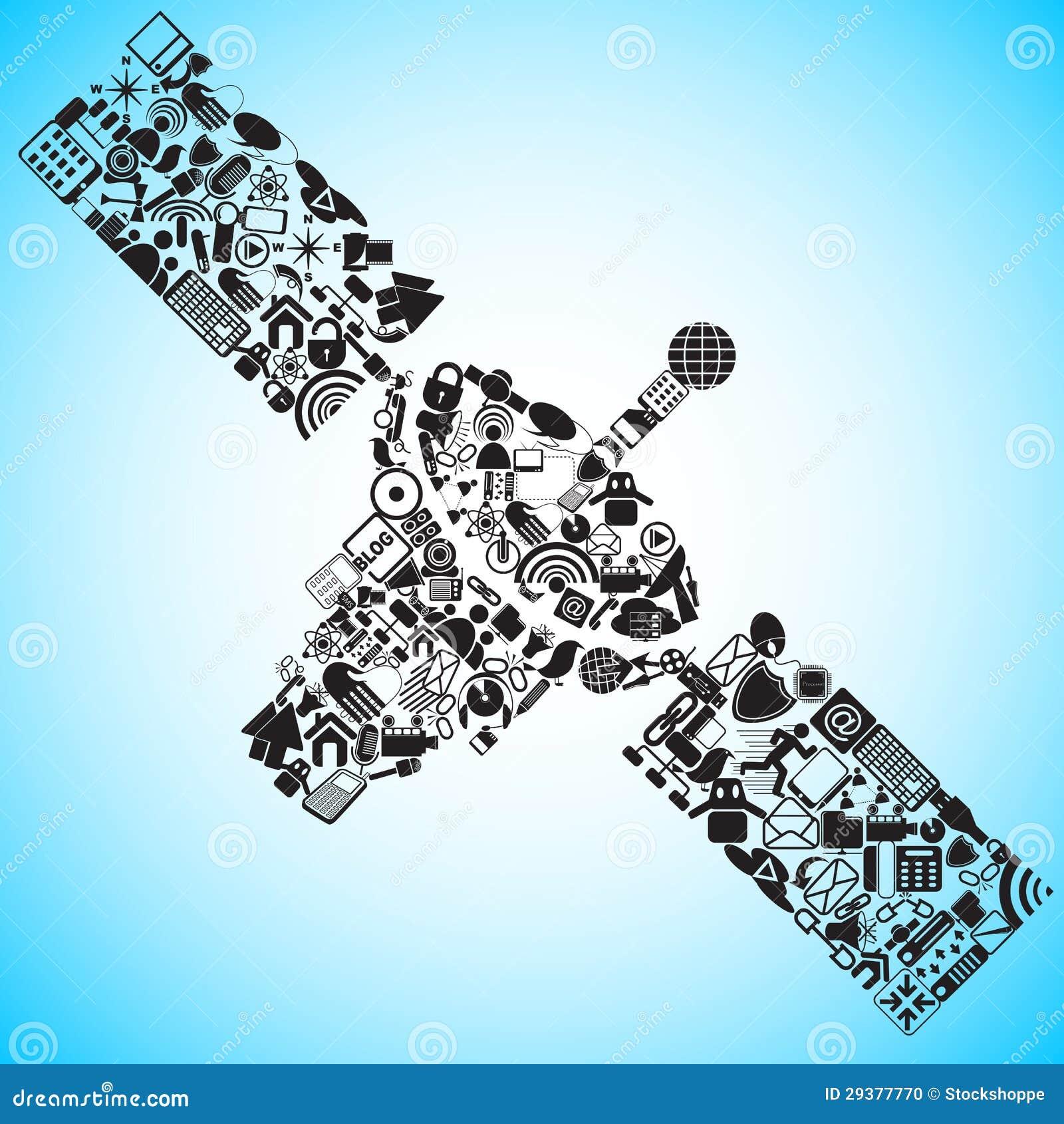 Satelita robić Medialna i Komunikacyjna ikona