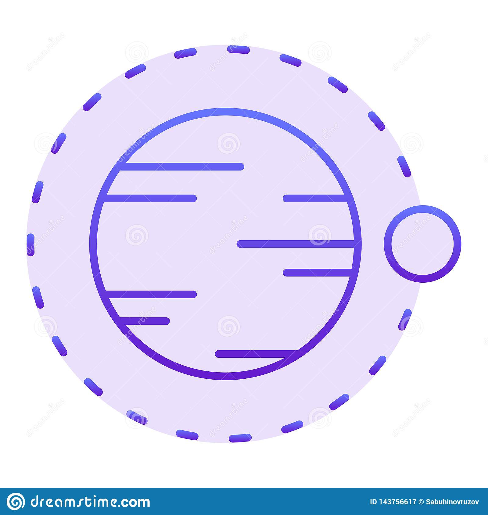 Satelitarny latanie nad planety mieszkania ikona Kosmos fiołkowe ikony w modnym mieszkanie stylu Astronomia gradientu stylu proje