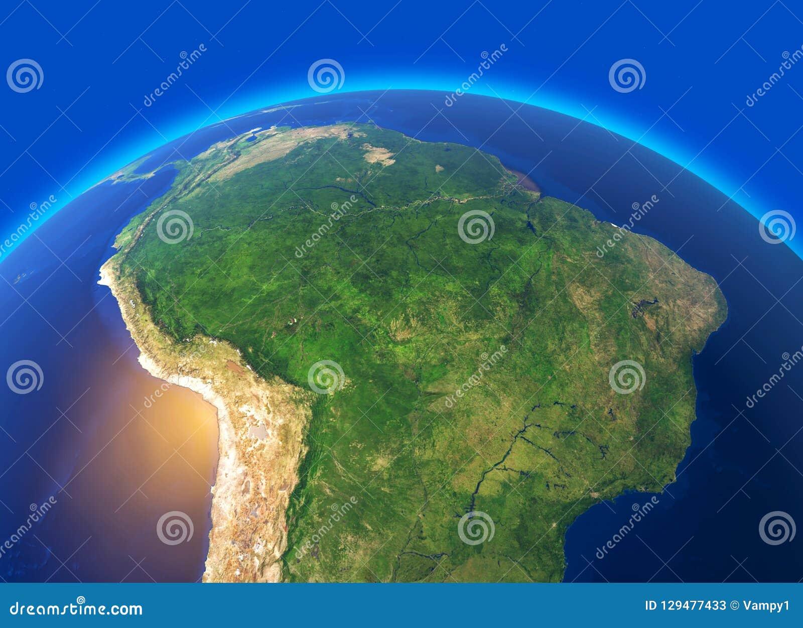 Satelitarny widok amazonka, mapa, stany Ameryka Południowa, ulgi i równiny, fizyczna mapa