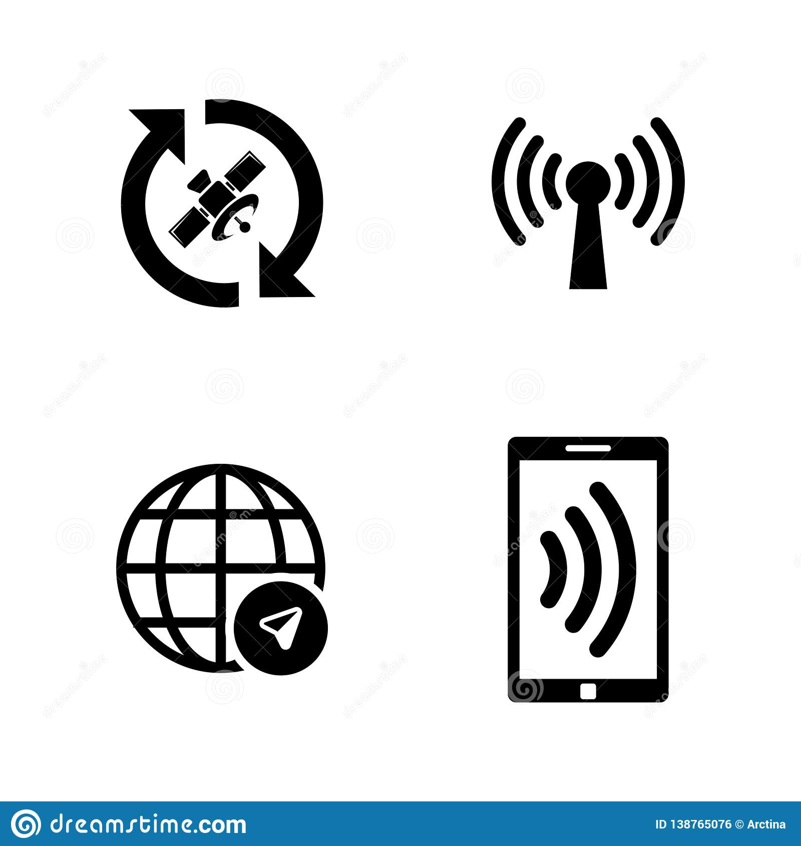 Satelite Navigation, Connection. Simple Related Vector Icons