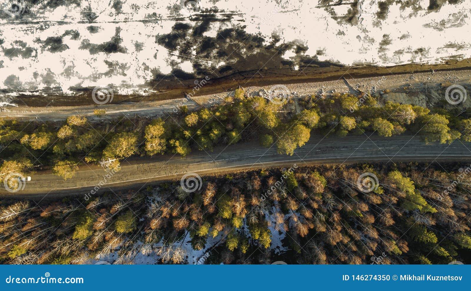 Satellietbeeld van de lente landelijke weg in geel pijnboombos met smeltend ijsmeer