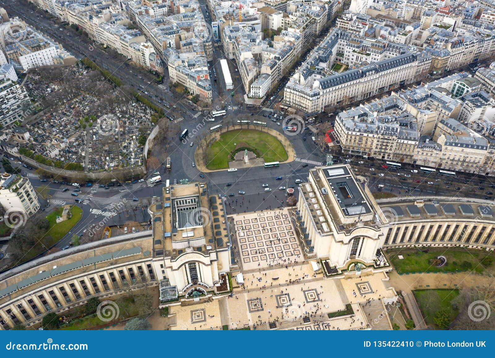 Satellietbeeld van de Stadsstraten van Parijs rond Trocadero-Vierkant