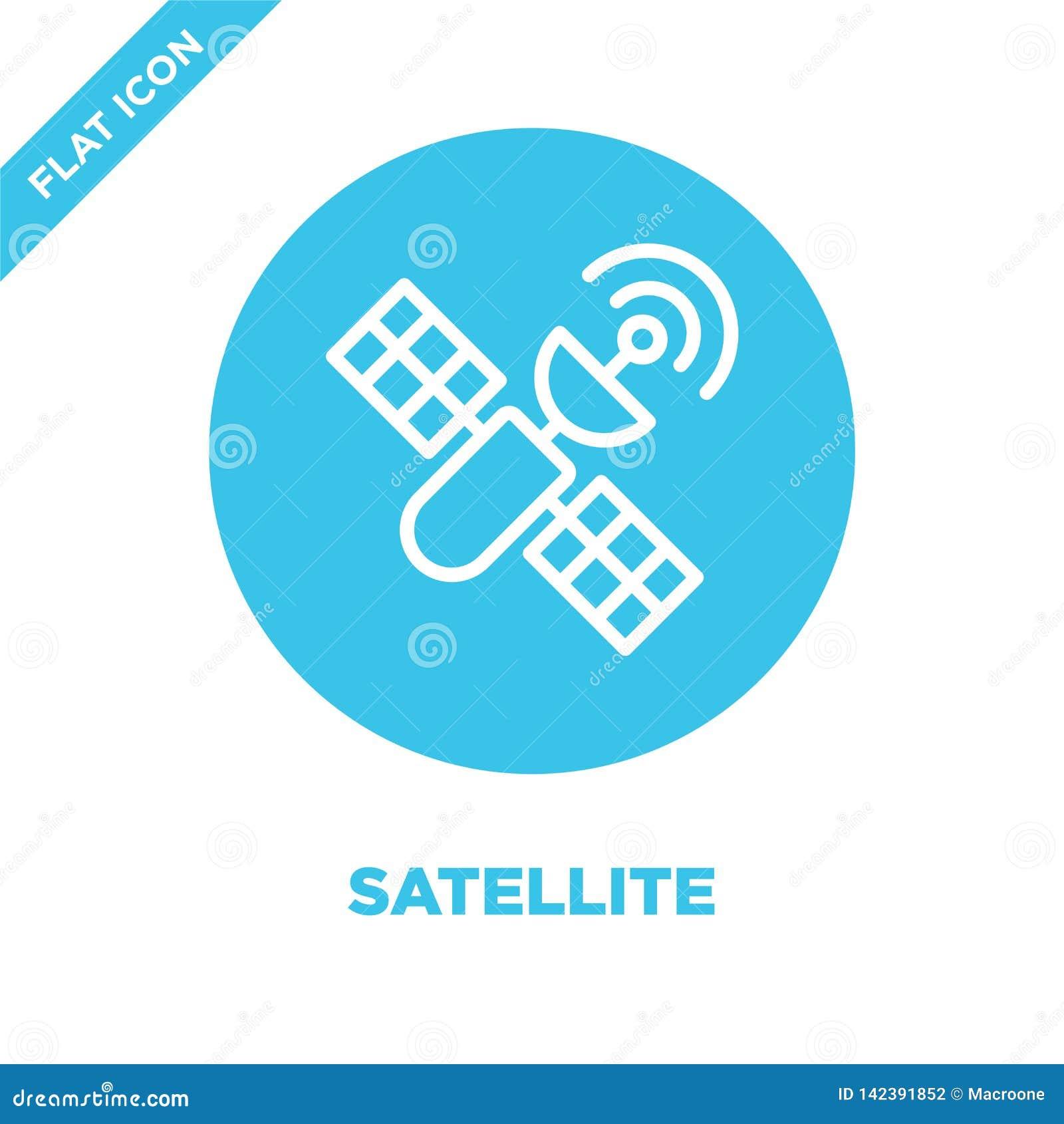 Satellit- symbolsvektor från militär samling Tunn linje satellit- illustration för översiktssymbolsvektor Linjärt symbol för bruk