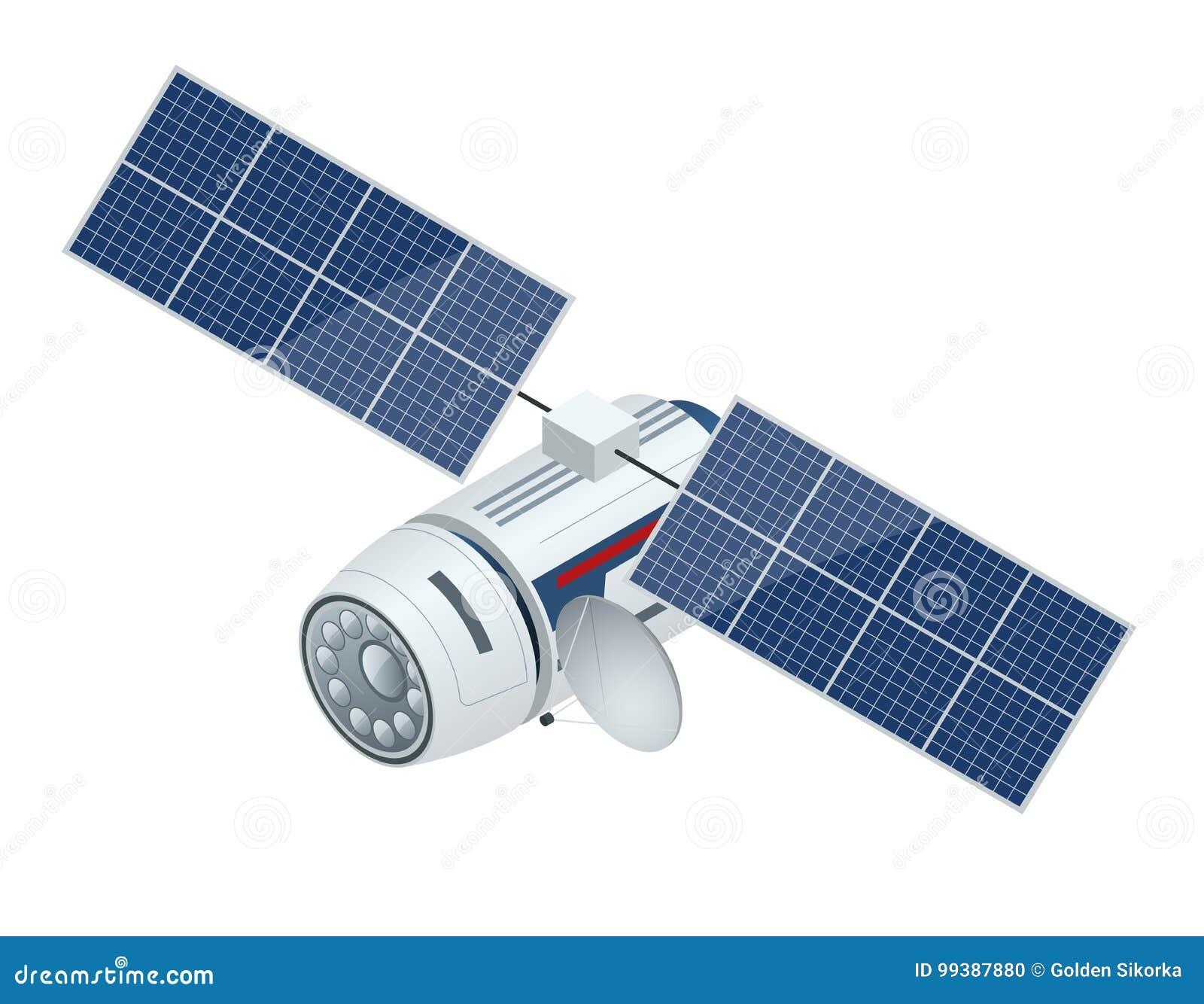 Satellite de GPS Illustration isométrique de vecteur plat Technologie satellite sans fil
