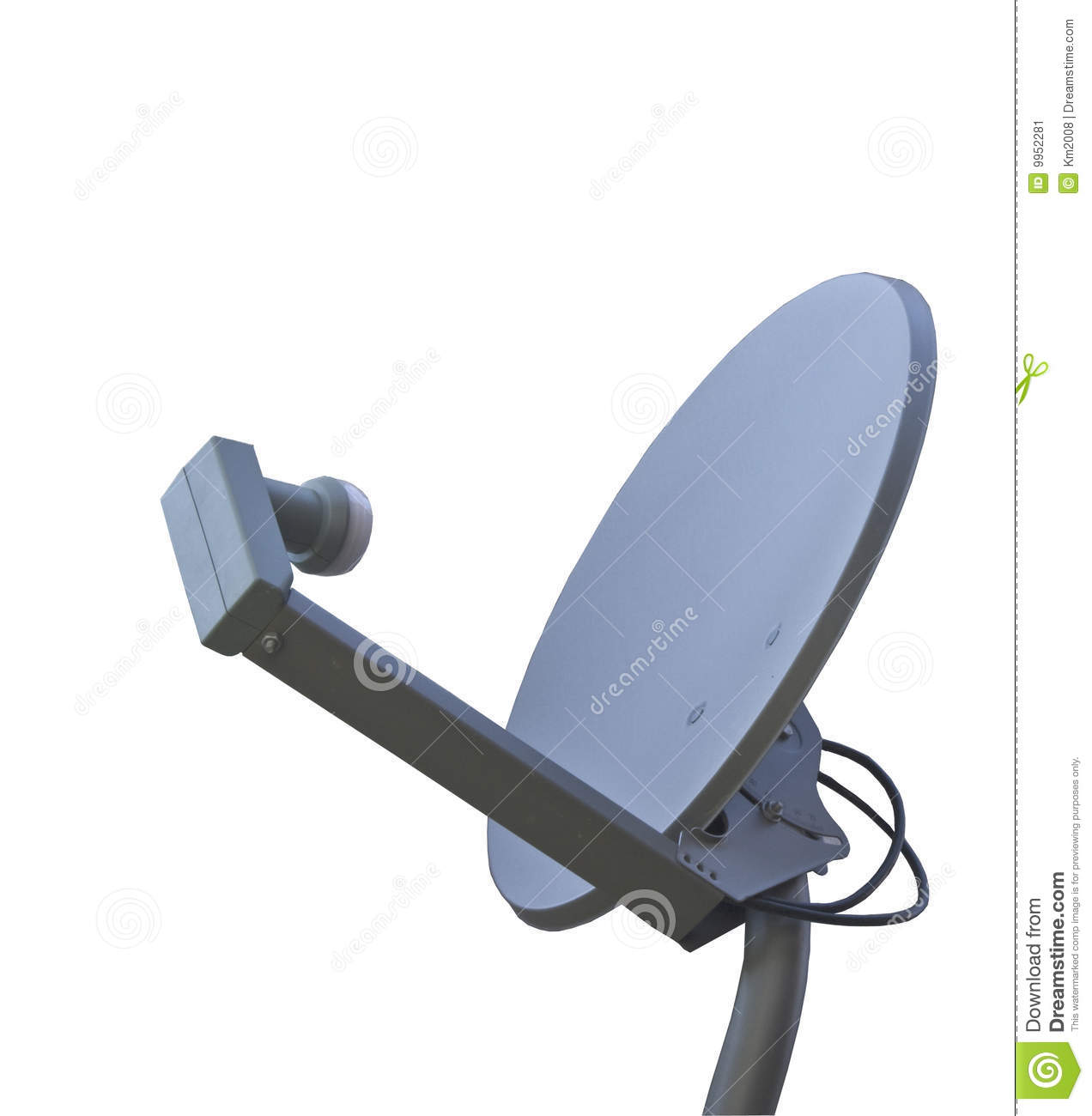 Isolated satellite dish with a single transponder.