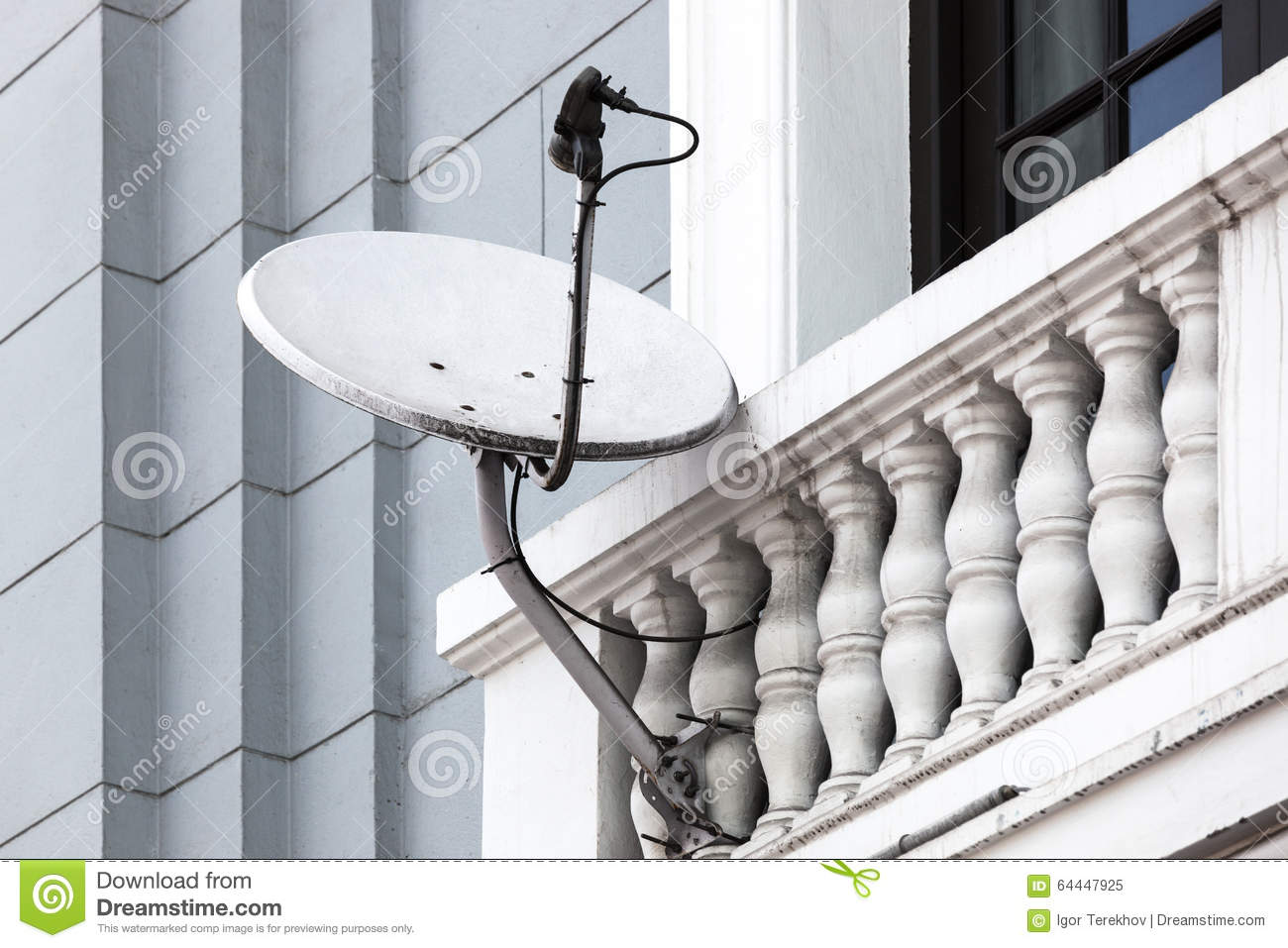satellite dish on the balcony stock image image of house gray 64447925. Black Bedroom Furniture Sets. Home Design Ideas