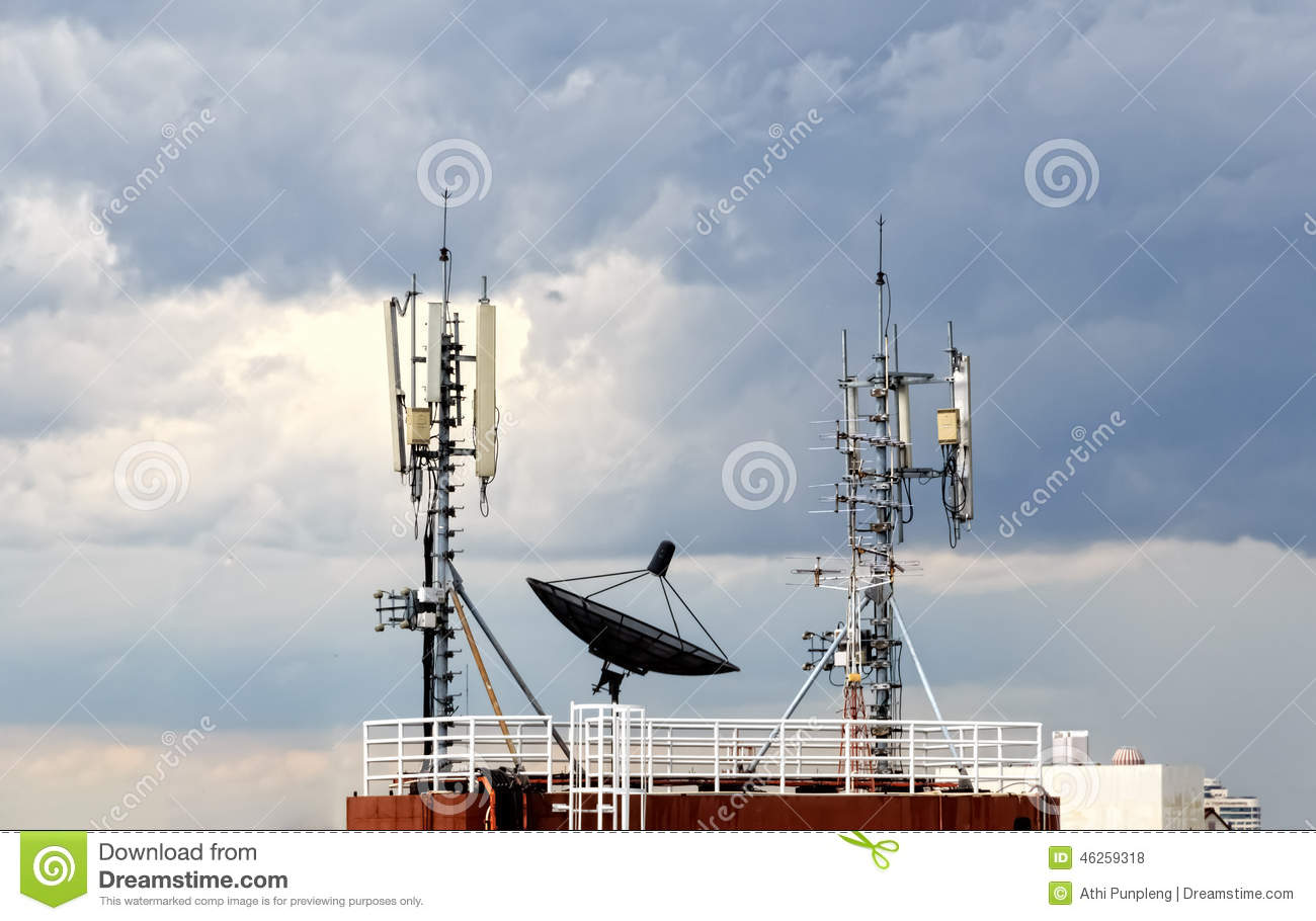 Satellite Dish In Cloudy Sky Stock Photo - Image of