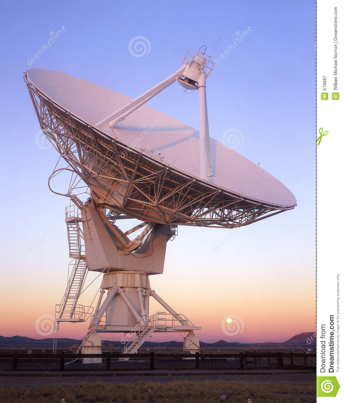 satellite dish full moon stock image image of array 576687