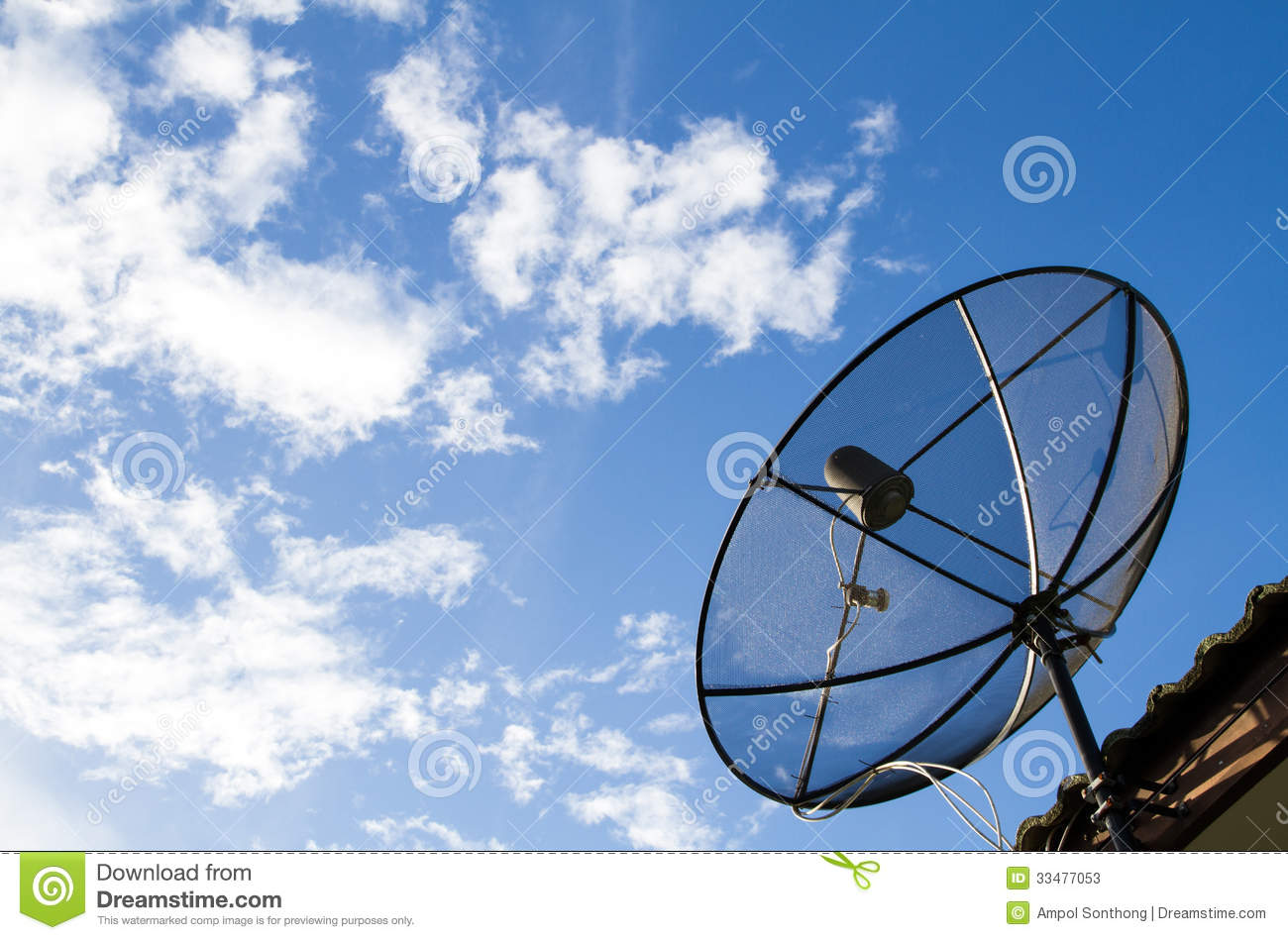 Satellite Dish Install On The Roof Stock Photos Image