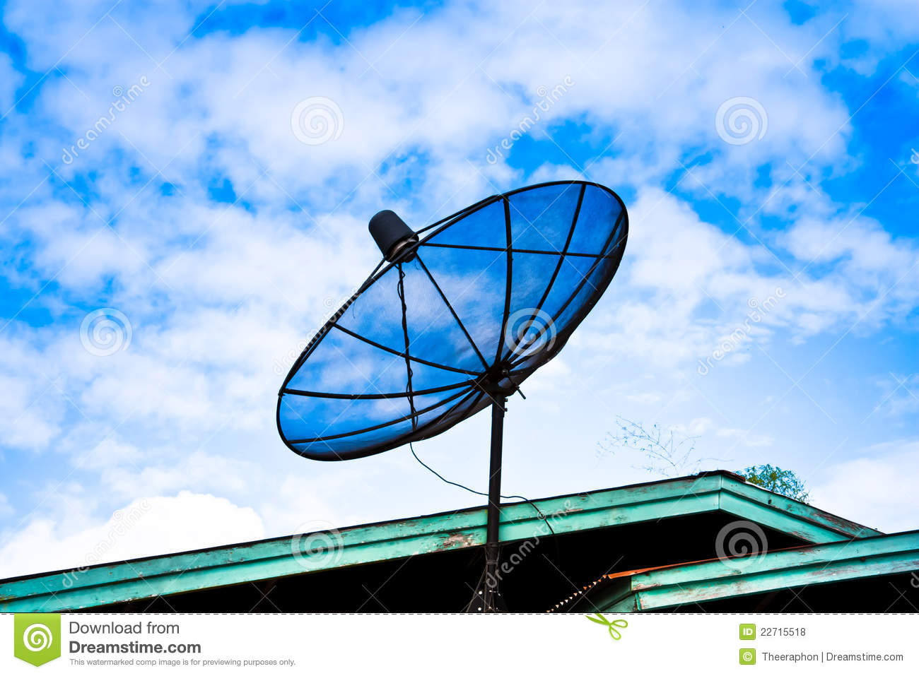 Satellite Dish On The Roof Royalty Free Stock Photos