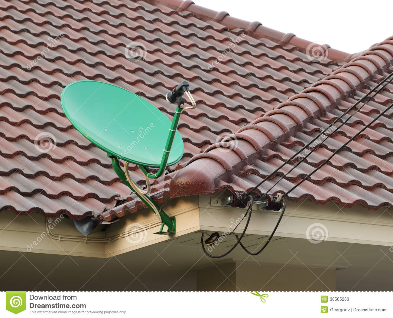 Satellite Dish On The Roof Of Tile Stock Photos Image