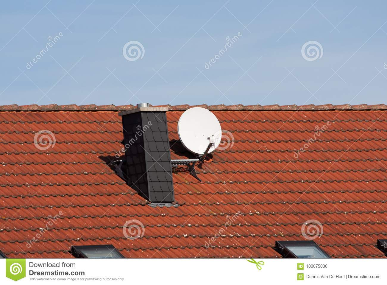 Satellite dish on a roof.