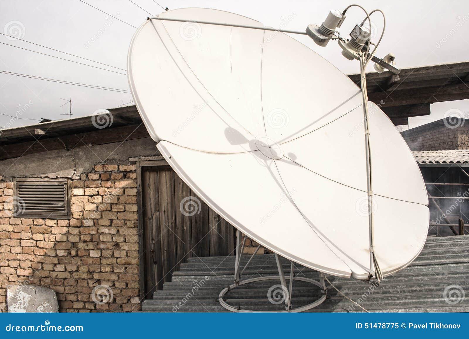 Satellite Dish On The Roof White Stock Illustration