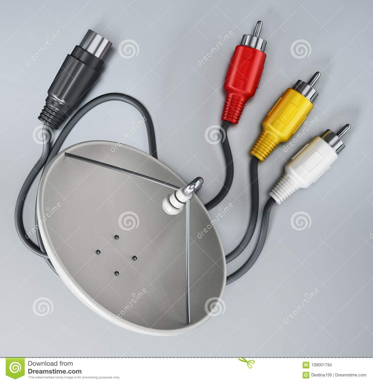 Satellite Dish And S Video Cables Isolated On White Background 3d Wiring Download Illustration Stock