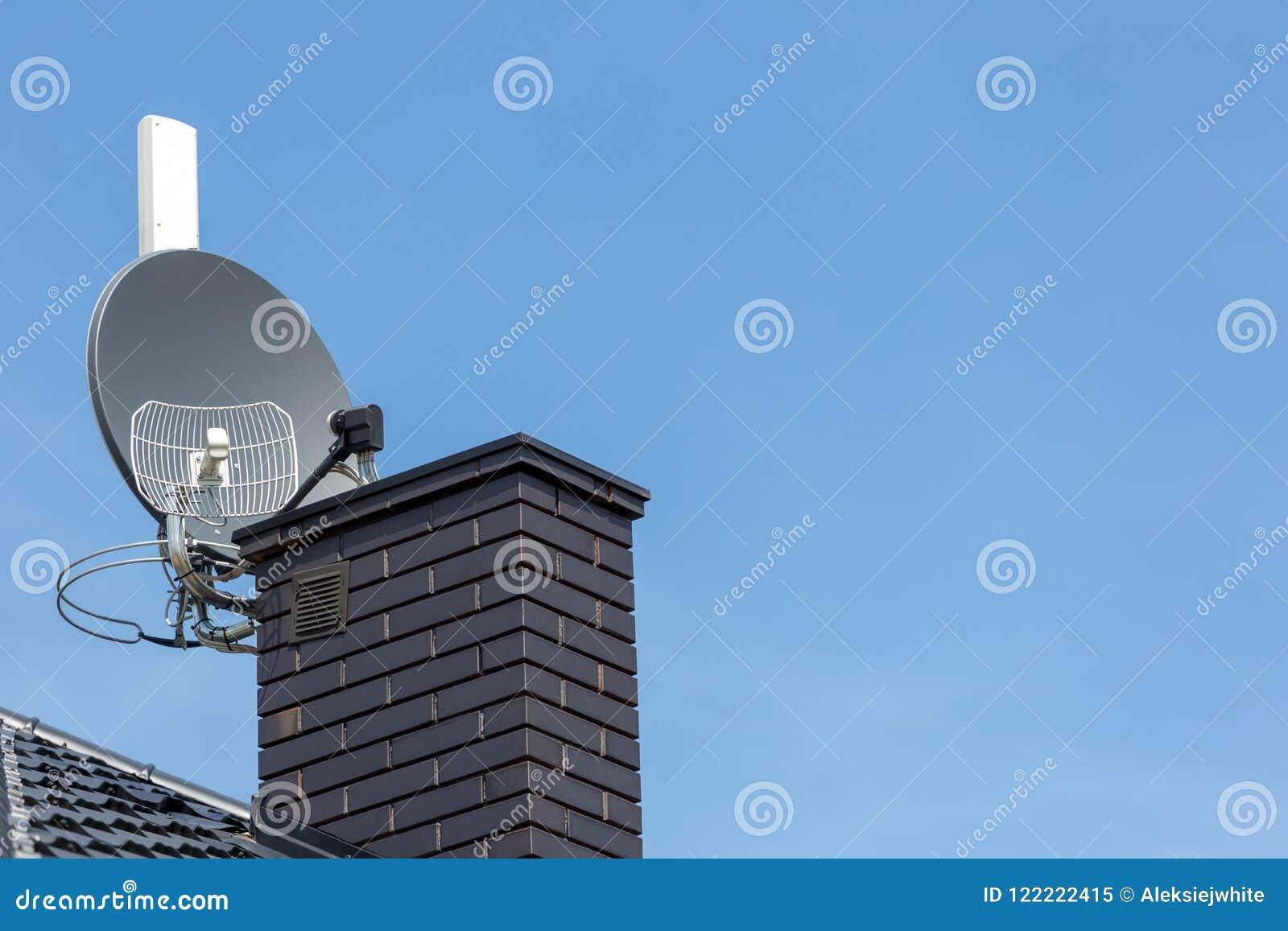 Satellite Dish And Tv, Radio And Wireless Internet Antenna Stock
